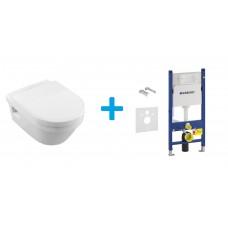 Комплект инсталляционная система Geberit Duofix (458.126.00.1) + унитаз Villeroy & Boch Omnia Architectura DirectFlush с сиденьем  Soft Close (5684HR01)