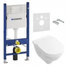 Комплект инсталляционная система Geberit Duofix (458.126.00.1) + унитаз Подвесной унитаз Villeroy & Boch O.NOVO (5660HR01)